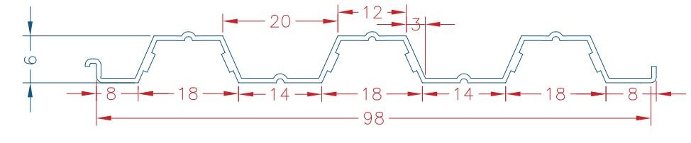 مشخصات مقاطع سقف های کامپوزیت عرشه فولادی 60MM