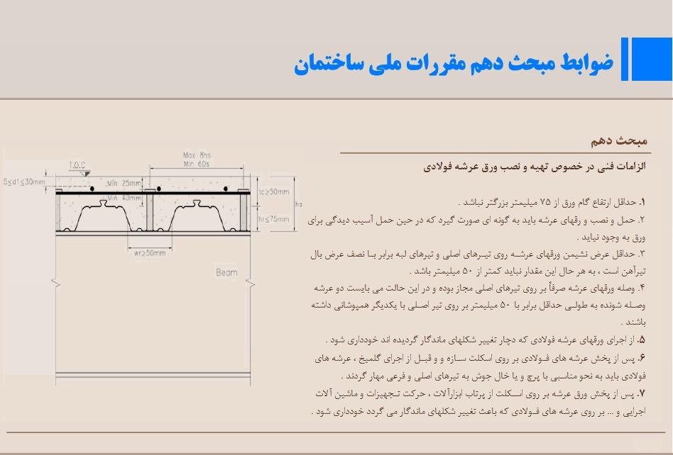 تصویر صفحاتی از مبحث دهم مقررات ملی ساختمان مرتبط با عرشه فولادی